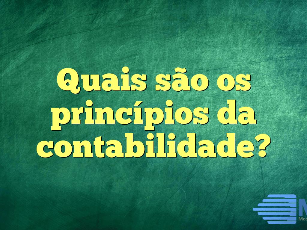 Quais são os princípios da contabilidade?