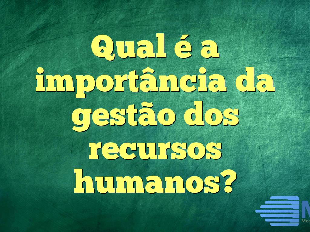 Qual é a importância da gestão dos recursos humanos?